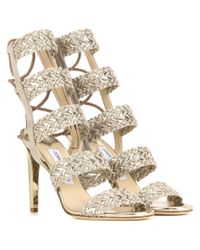 Jimmy Choo | Lima 100 Suede And Metallic Leather Sandals | Lyst