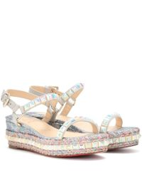 Christian Louboutin | Gray Cataclou Glitter & Studded Espadrille Platform Sandals | Lyst
