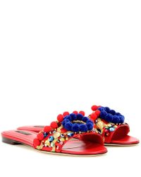 Dolce & Gabbana - Red Embellished-Leather Sandals - Lyst
