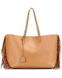 Saint Laurent - Brown Fringed Leather Shopper - Lyst