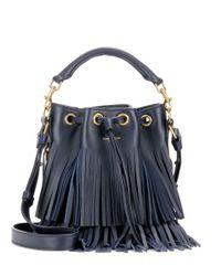 Saint Laurent | Black Small Bucket Fringed Leather Tote | Lyst