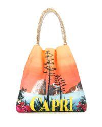 Dolce & Gabbana - Orange Anita Printed Silk Shopper - Lyst