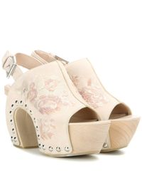 Alexander McQueen | Natural Embroidered Suede Platform Clogs | Lyst