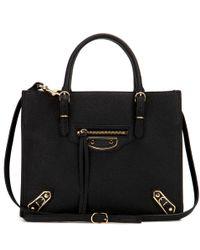 Balenciaga - Black Mini Papier A4 Metallic Edge Leather Shoulder Bag - Lyst
