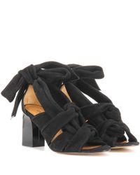 Ganni - Black Hoshiko Suede Sandals - Lyst