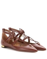 Aquazzura - Orange Bel Air Leather Ballerinas - Lyst
