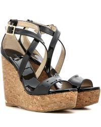 Jimmy Choo | Black Portia 120 Patent Leather Wedge Sandals | Lyst