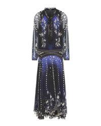 Roberto Cavalli - Blue Printed Silk Gown - Lyst
