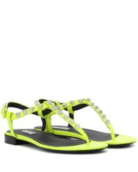 Balenciaga | Yellow Giant Studded Leather Sandals | Lyst