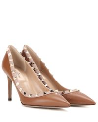 Valentino | Natural Garavani Rockstud Leather Pumps | Lyst