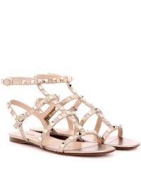 Valentino | Garavani Rockstud Metallic Leather Sandals | Lyst
