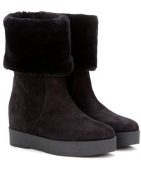 Ferragamo | Black Falcon Suede Concealed-wedge Boots | Lyst