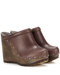 See By Chloé   Brown Leather Wedge Clogs   Lyst