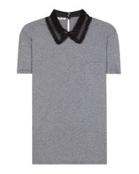 Miu Miu - Gray Cotton T-shirt With Lace Collar - Lyst