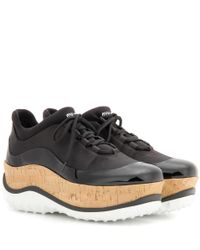 Miu Miu - Black Patent Leather-trimmed Platform Sneakers - Lyst