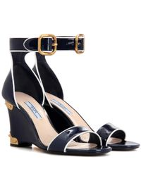 Prada | Blue Patent Leather Sandals | Lyst