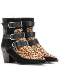Isabel Marant | Multicolor Printed Calf Hair And Suede Ankle Boots | Lyst