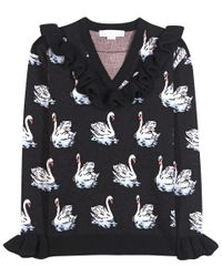 Stella McCartney Black Ruffled Virgin Wool Sweater