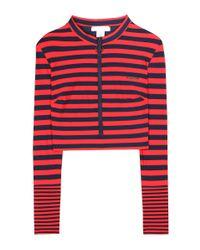 Stella McCartney | Red Striped Cropped Rash Guard | Lyst
