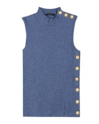 Balmain - Blue Embellished Cotton Top - Lyst