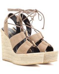 Saint Laurent | Multicolor Espadrille 95 Suede Wedge Sandals | Lyst