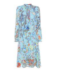 Etro | Blue Printed Silk Dress | Lyst