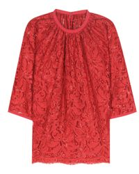 Dolce & Gabbana | Red Lace Top | Lyst