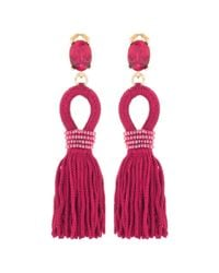 Oscar de la Renta - Multicolor Embellished Tassel Clip-on Earrings - Lyst