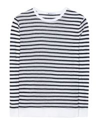 T By Alexander Wang - White Striped Jersey Top - Lyst