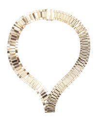 Lanvin | Metallic Brass Collar Necklace | Lyst