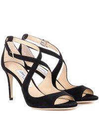 Jimmy Choo | Black Emily 85 Suede Sandals | Lyst