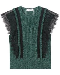 Valentino | Green Cotton Sweater With Lace | Lyst