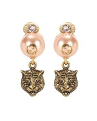 Gucci | Metallic Feline Earrings | Lyst