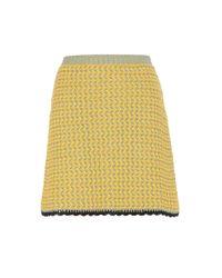 Miu Miu | Yellow Knitted Cotton Skirt | Lyst