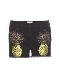 Giamba | Black Printed Denim Shorts | Lyst