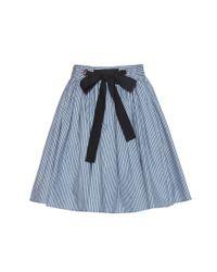 Miu Miu | Blue Striped Cotton Miniskirt | Lyst