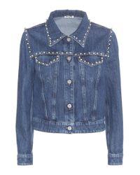Miu Miu   Blue Embellished Denim Jacket   Lyst