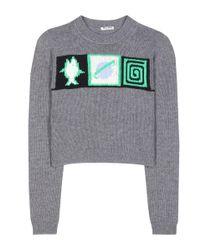Miu Miu - Gray Cropped Cashmere Sweater - Lyst