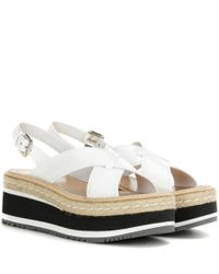 Prada | White Leather Platform Sandals | Lyst