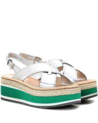 Prada - Multicolor Leather Platform Sandals - Lyst
