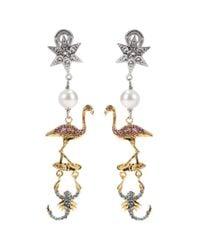 Miu Miu - Metallic Crystal-embellished Clip-on Earrings - Lyst