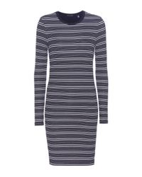 ATM - Blue Striped Jersey Dress - Lyst