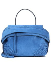 Tod's   Blue Wave Small Suede Tote   Lyst