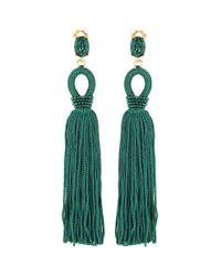 Oscar de la Renta   Green Tassel Long Silk Clip-on Earrings   Lyst
