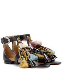 Chloé Black Embellished Leather Sandals