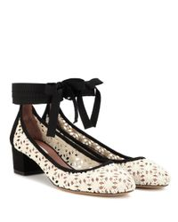 Tabitha Simmons - Black Minnie Daisy Crochet And Suede Pumps - Lyst
