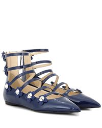 Fendi | Blue Embellished Patent Leather Sandals | Lyst