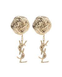 Saint Laurent - Metallic Ysl Earrings - Lyst