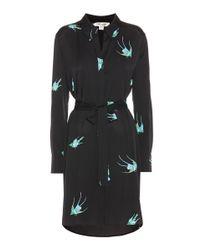 Diane von Furstenberg Black Silk Shirt Dress