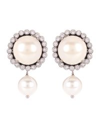 Miu Miu - White Embellished Faux-pearl Earrings - Lyst